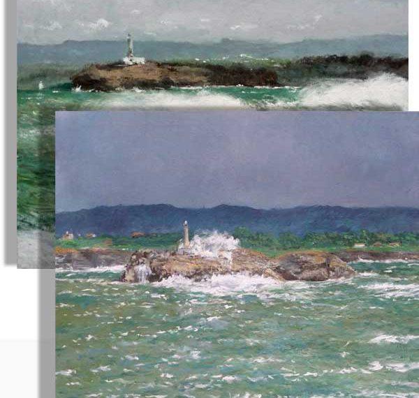 Dos cuadros al oleo de marinas de un motivo similar