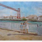Retrato de tres niños en el puente de Portugalete