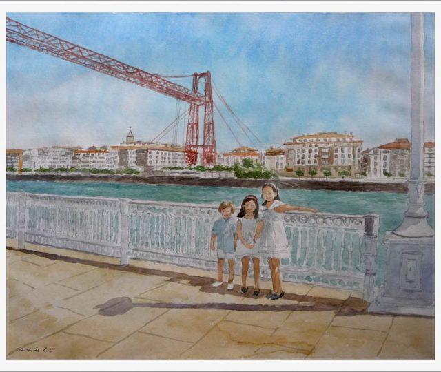 Acuarela del puente colgante de Portugalete