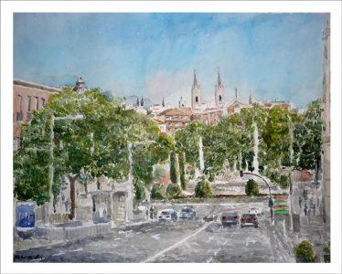 Acuarela de la Plaza de Neptuno y los Jerónimos en Madrid