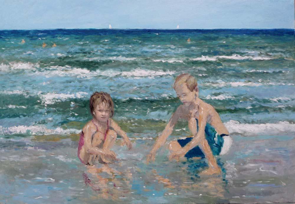 Cuadro al oleo de unos niños jugando en la playa de la Malvarrosa, Valencia.