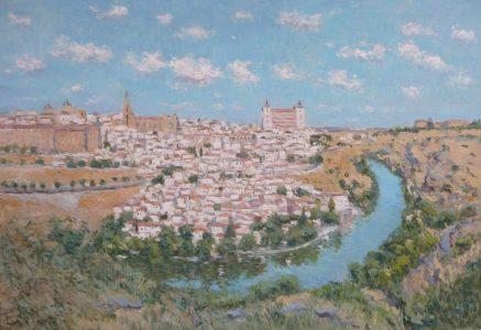 Cuadro al oleo de un paisaje de Toledo