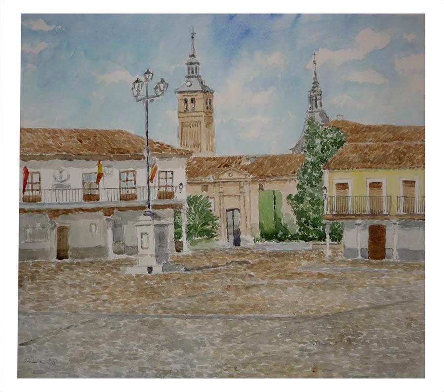 Acuarela de la plaza de Segovia en Navalcarnero