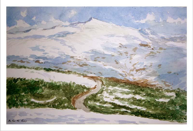 Acuarela del Pico Veleta en Sierra Nevada