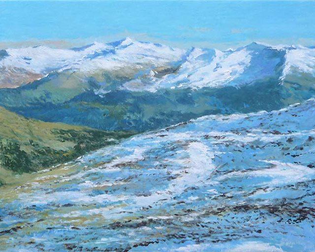 Cuadro de un paisaje al oleo del Parque Nacional Hohe Tauern, Austria
