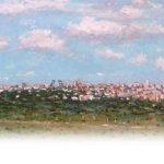 Cuadros pintados de ciudades desde la lejanía