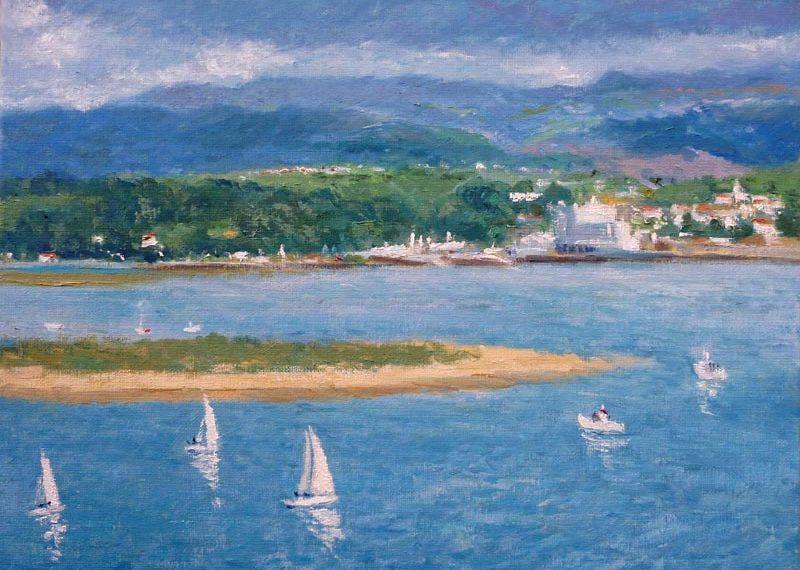 Cuadro al oleo de la bahía de Santander y Pedreña