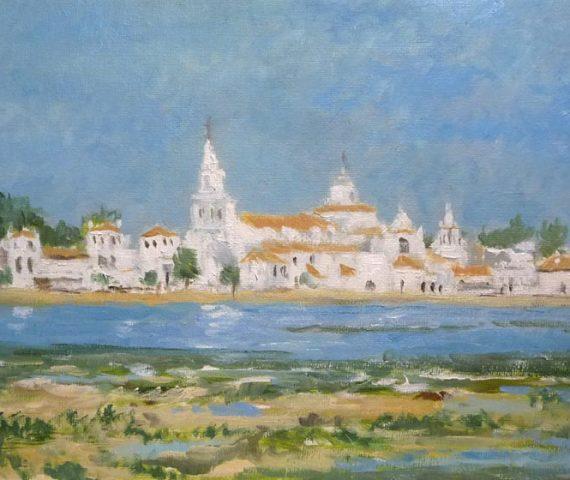Paisaje al oleo de El Rocío, Huelva