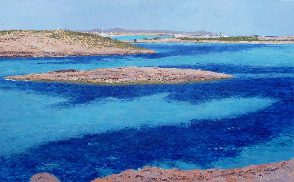 Cuadro al oleo de un paisaje de Formentera