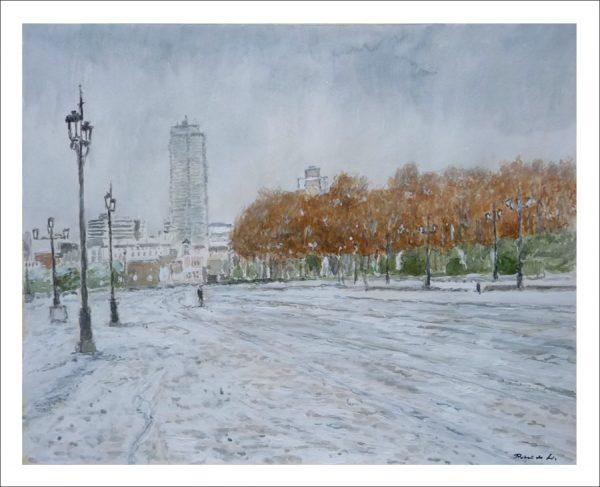 Acuarela de un paisaje de la ciudad de Madrid nevada