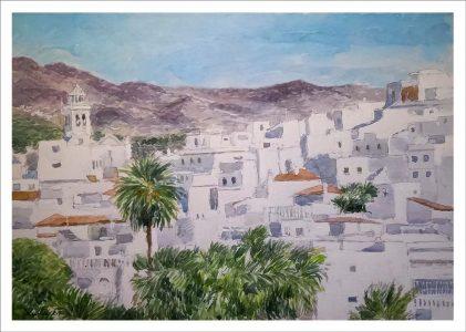 Acuarela de un paisaje de Almuñecar en Granada