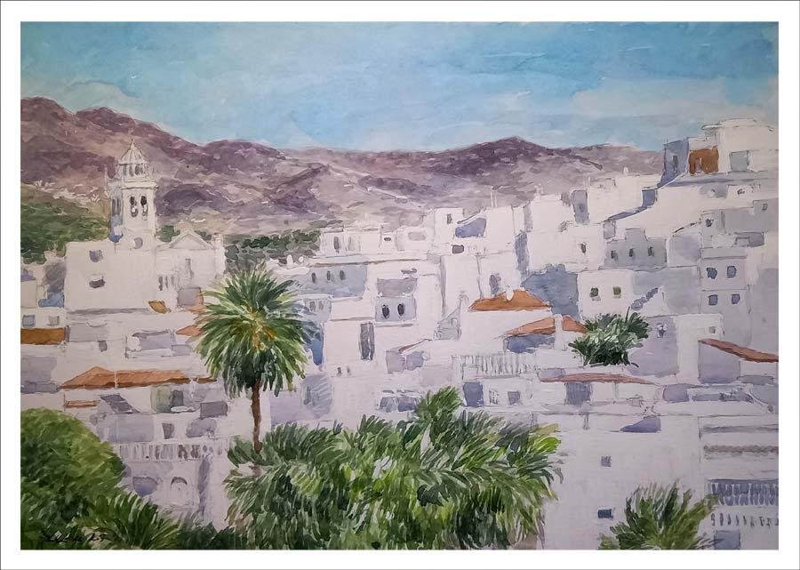 Acuarela de un paisaje de Almuñecar, Granada