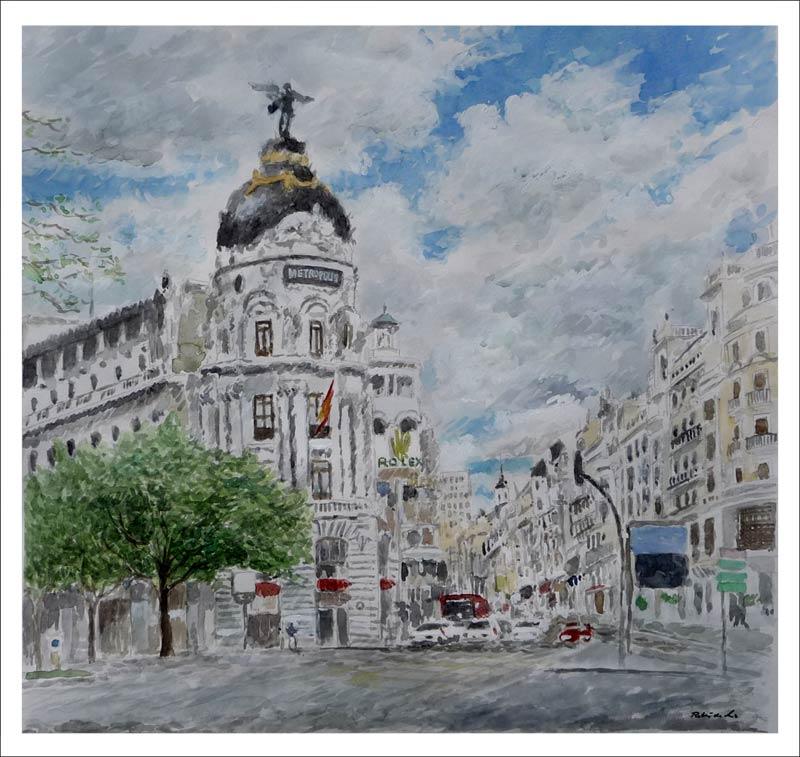 Acuarela del Edificio Metrópolis en la Gran Vía de Madrid