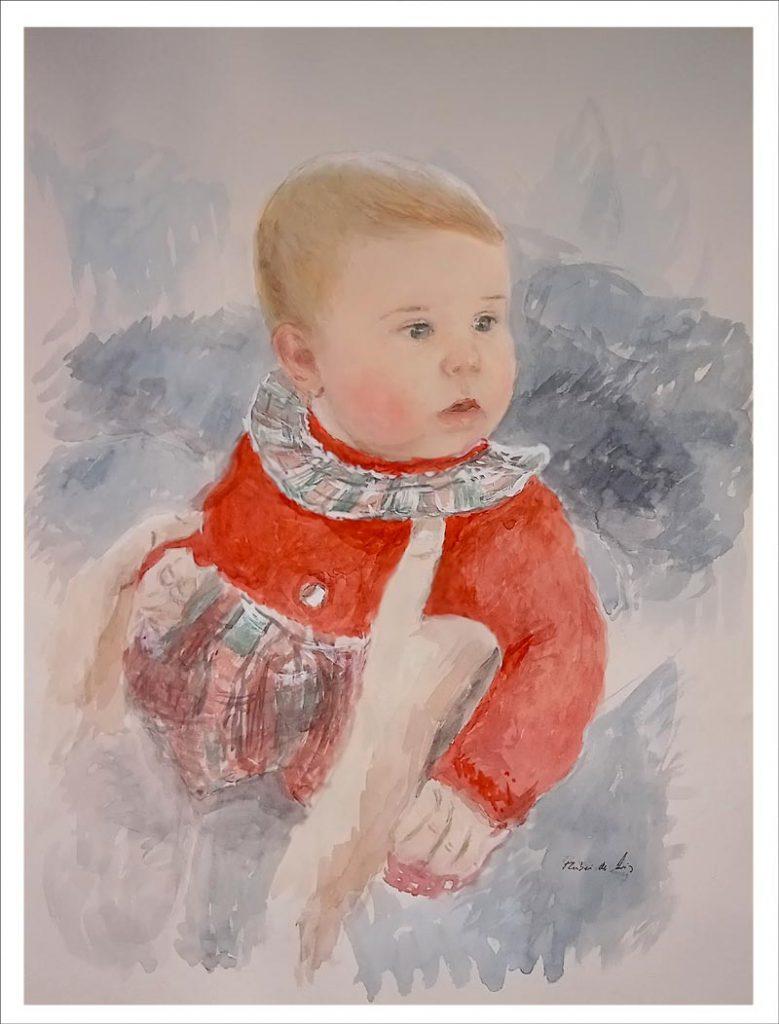 Retrato en acuarela por encargo de un bebé