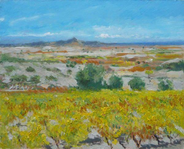 Cuadro al oleo de un viñedo amarillo en La Rioja