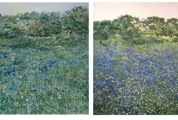 Oleo y acuarela de un paisaje de flores