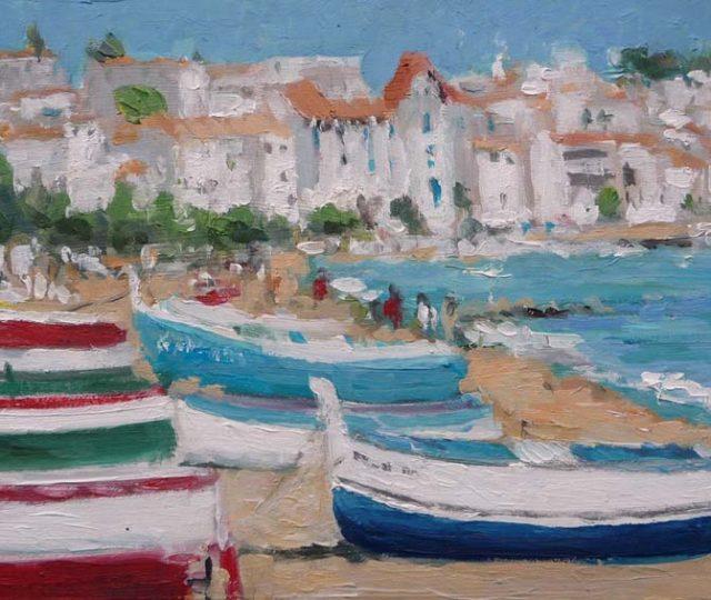 Cuadro al oleo de unas barcas en Cadaqués