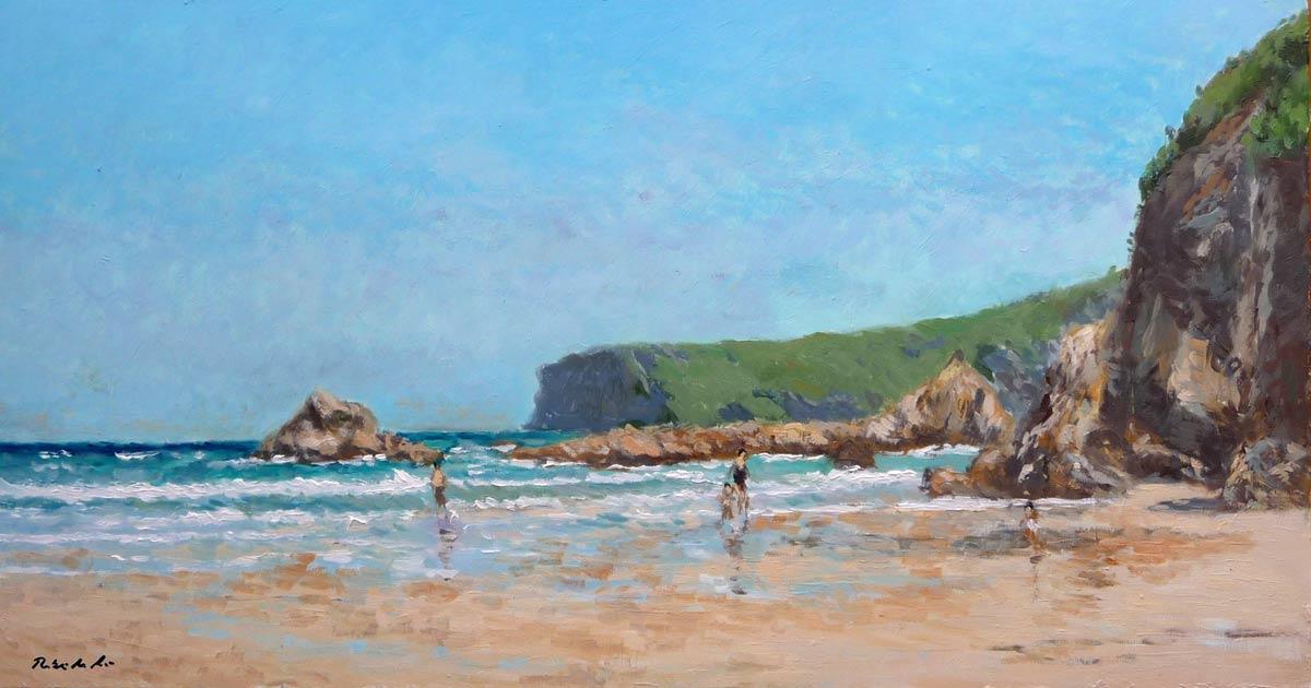 Playa de la Franca. Cuadro al oleo. 58x30 cms