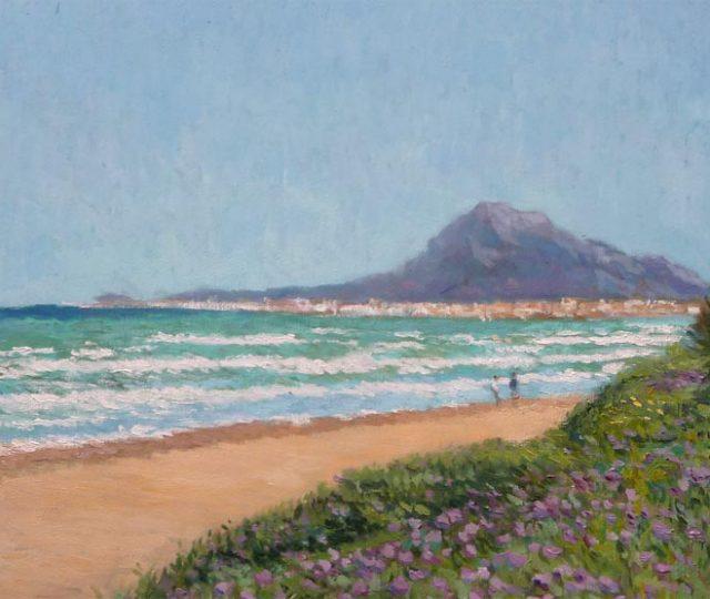 Cuadro a oleo de la playa de Les Deveses en Dénia y el monte Montgó