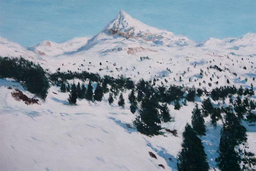 Cuadro al oleo de un paisaje del Pirineo Navarro