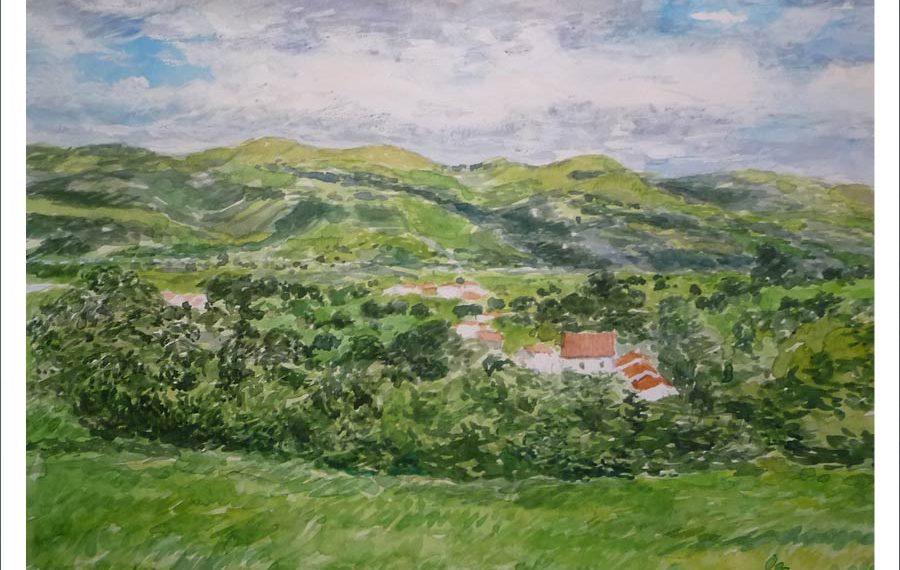 Acuarela del Valle de Toranzo, Cantabria