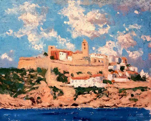 Cuadro al oleo de un paisaje de Ibiza