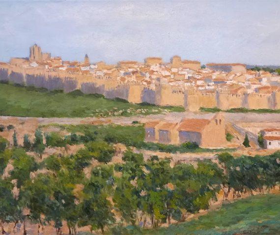 Paisaje de Ávila al atardecer pintado al oleo