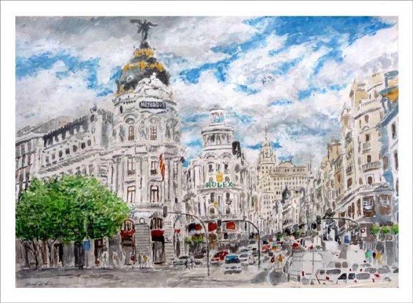 Acuarela de Madrid de la Gran Vía