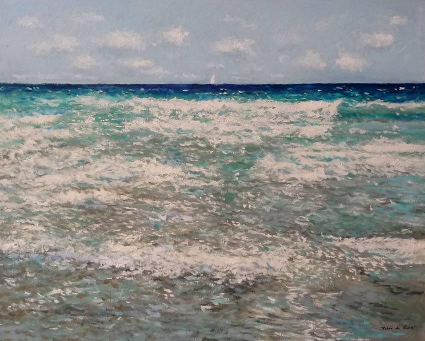 Cuadro al oleo de una marina del Mar Mediterráneo