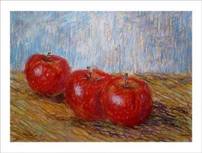 Bodegón de unas manzanas sobre una mesa