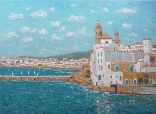 Cuadro al oleo de un paisaje de Sitges