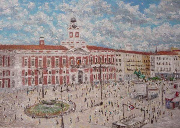 Cuadro al oleo de la Puerta del Sol de Madrid