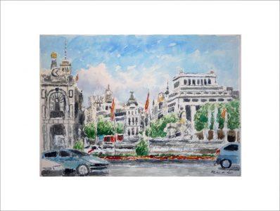 Acuarela de la Plaza de Cibeles de Madrid