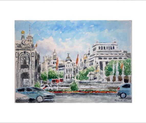 Acuarela de la plaza de Cibeles en Madrid